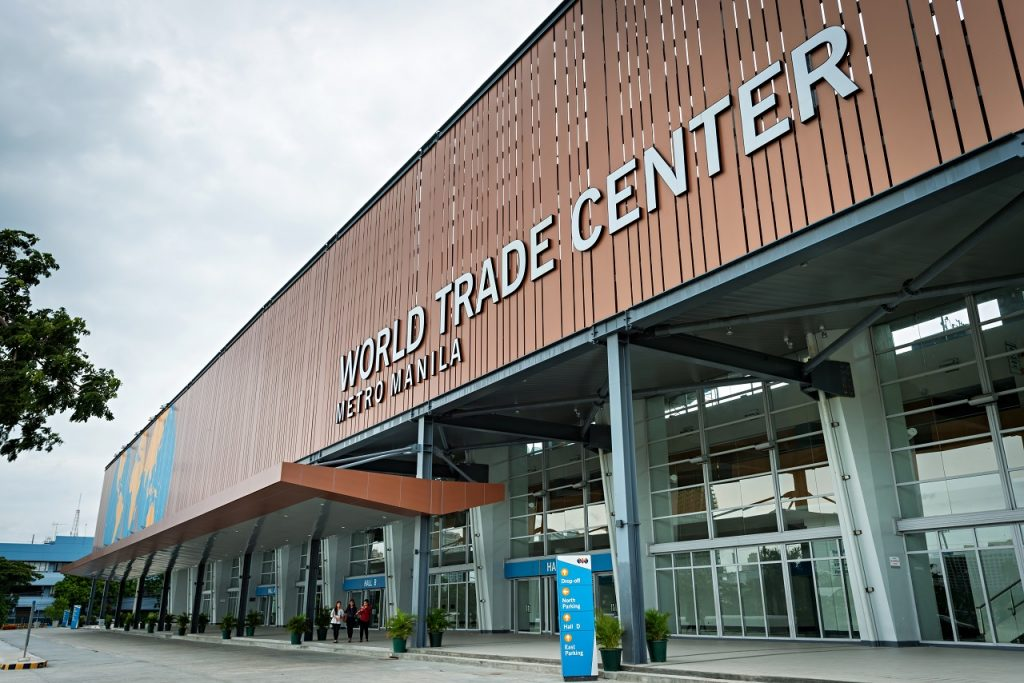 A close up of the outside of the World Trade Center venue in the Philippines