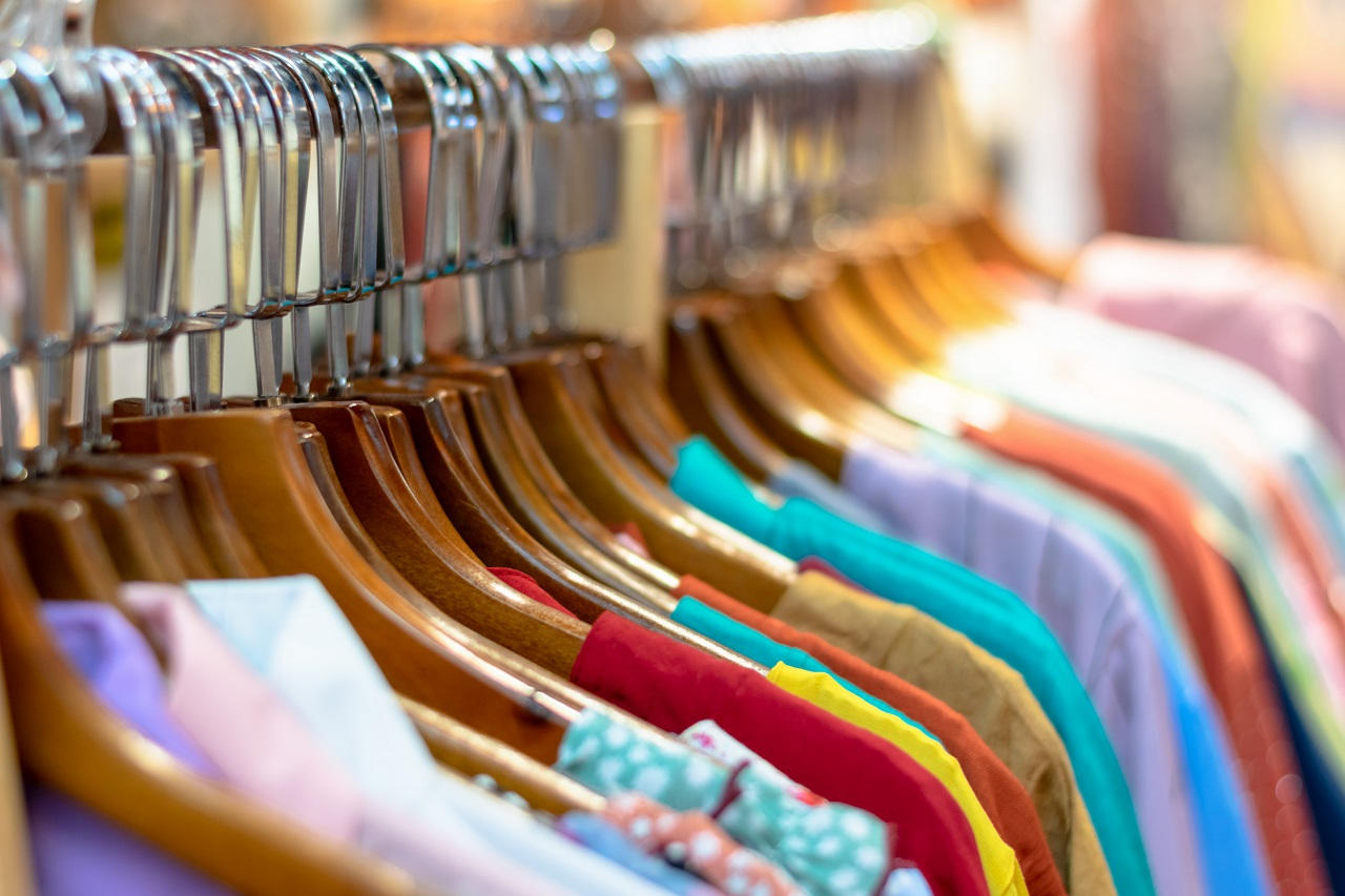 Close up of clothes on a rack