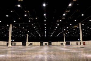Wide shot of the main hall of the World Trade Center in the Philippines