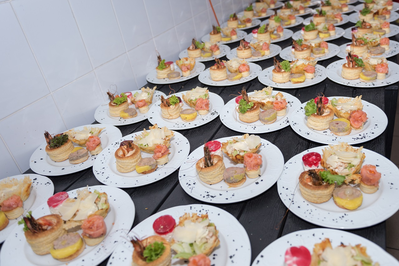 Close up of plates of food for an event