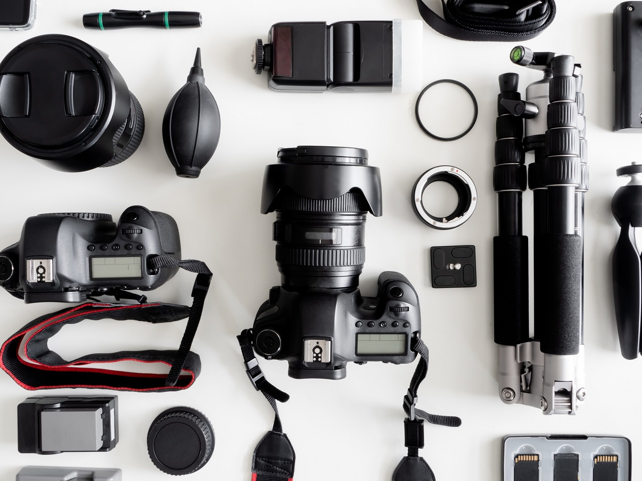 Camera gear on a table
