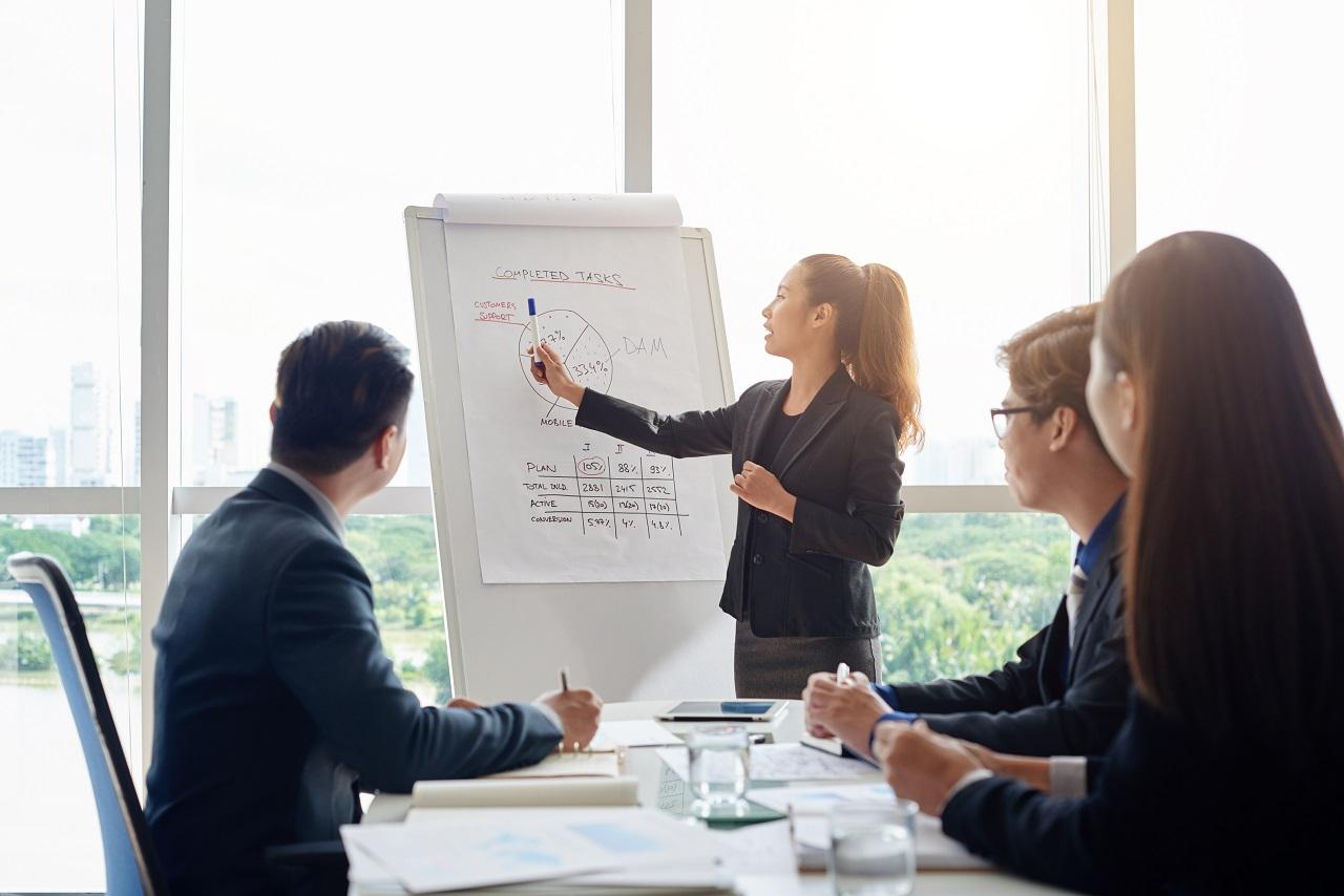 An Asian businesswoman presenting during an office meeting