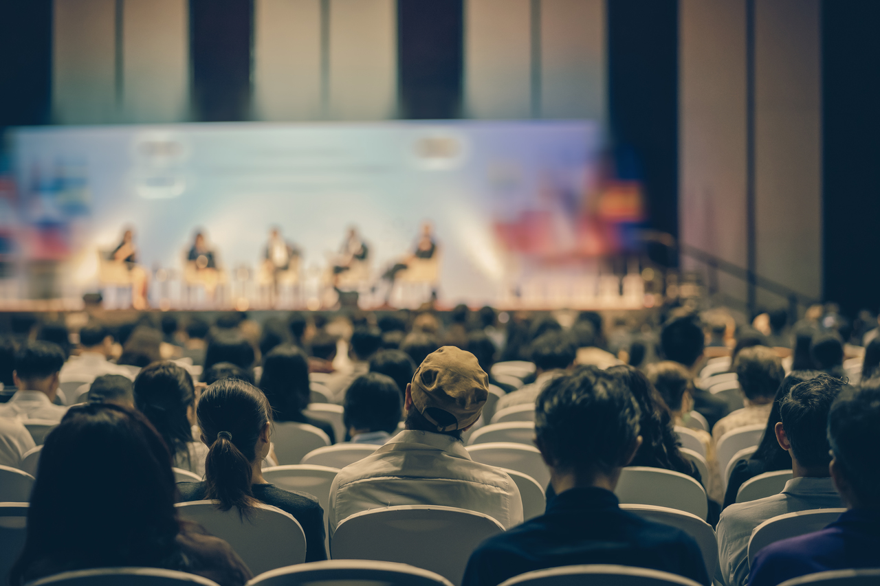 A conference in a large venue
